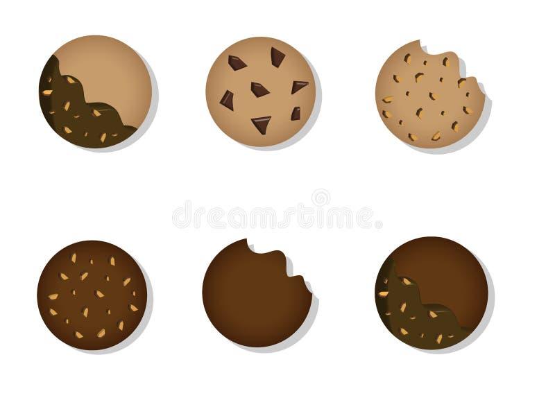 Cookies de manteiga e projeto gráfico das cookies do chocolate ilustração do vetor
