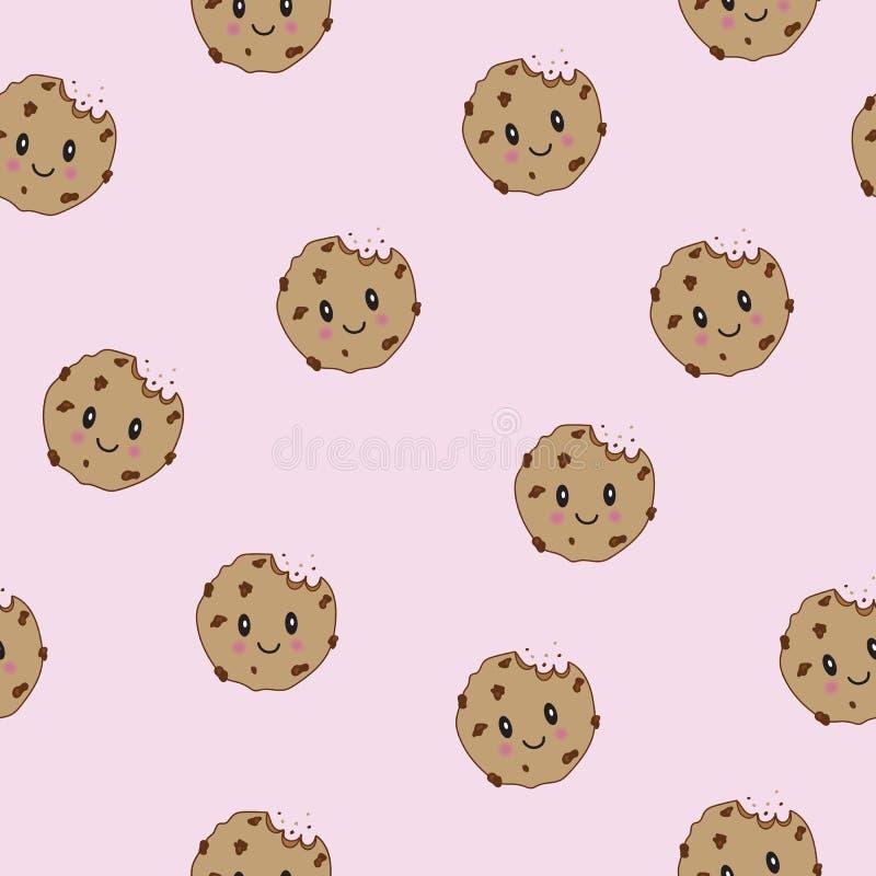 Cookies de sorriso felizes bonitos dos pedaços de chocolate do vetor Fundo sem emenda do teste padrão Ícone liso do iluustration  ilustração royalty free