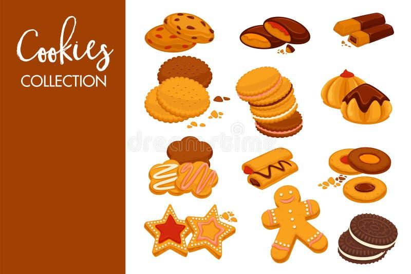 Cookies deliciosas doces com chocolate escuro natural e crosta de gelo e waffles macios com gelado frio e doce frutado ilustração royalty free