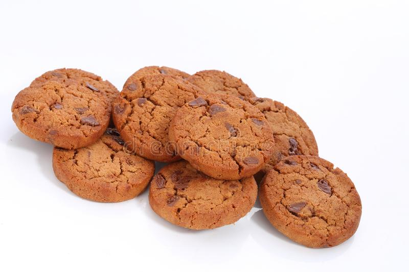 Cookies. Delicious, snack ,isolated,chocolate chip stock image