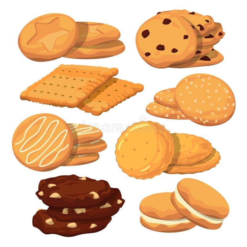 Cookies diferentes no estilo dos desenhos animados Isolado ajustado ícones do vetor no branco ilustração stock