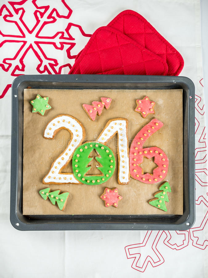 2016 cookies do ano novo foto de stock