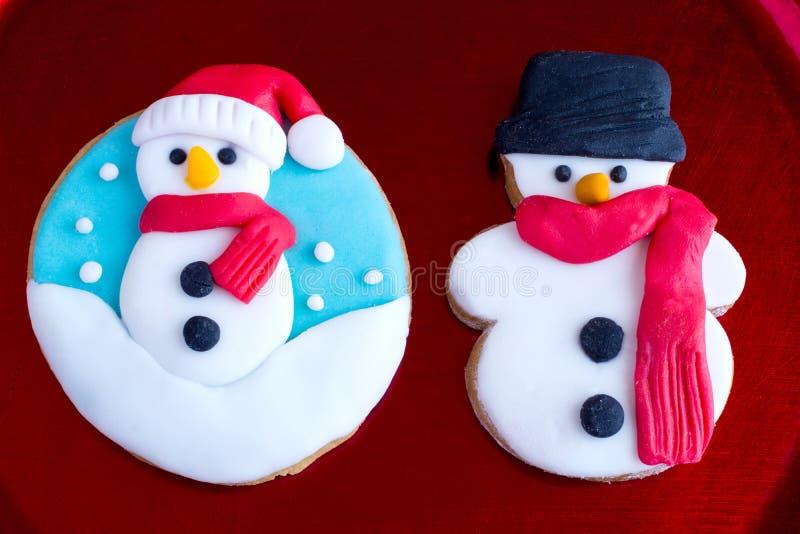 Cookies do boneco de neve do Natal foto de stock royalty free