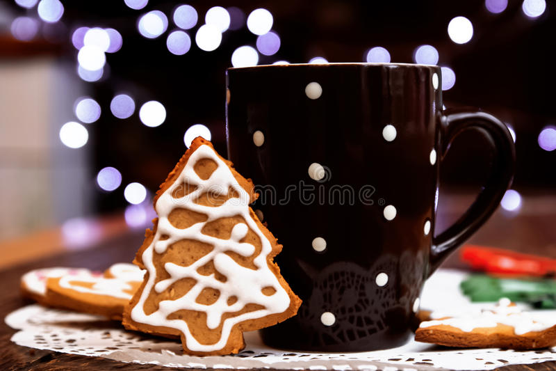Cookies do café e do pão-de-espécie foto de stock