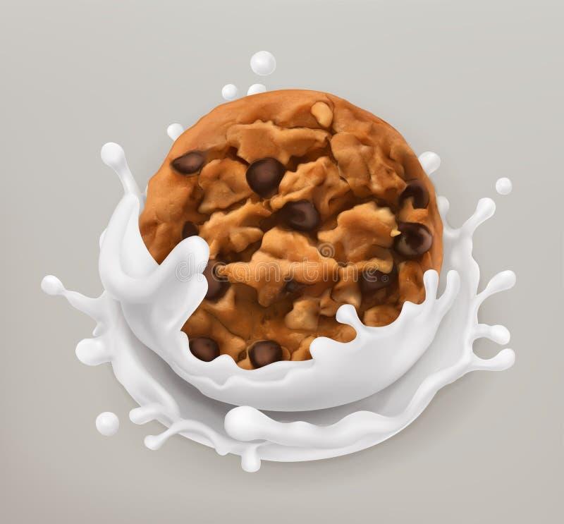 Cookies do chocolate e respingo do leite ícone do vetor 3d ilustração do vetor