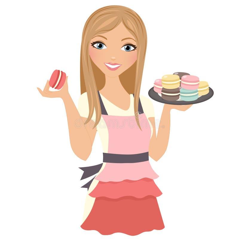 Cookies do cozimento da mulher ilustração royalty free