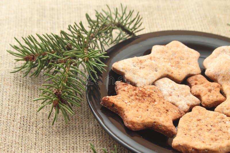 Cookies do Natal e ramos de árvore fotografia de stock