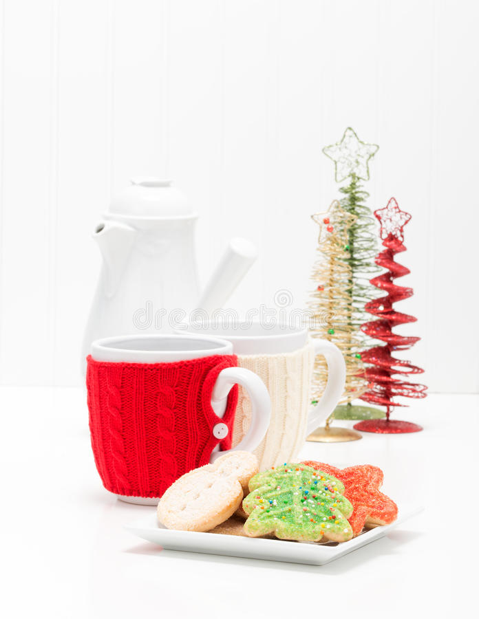 Cookies do Natal e retrato do café foto de stock