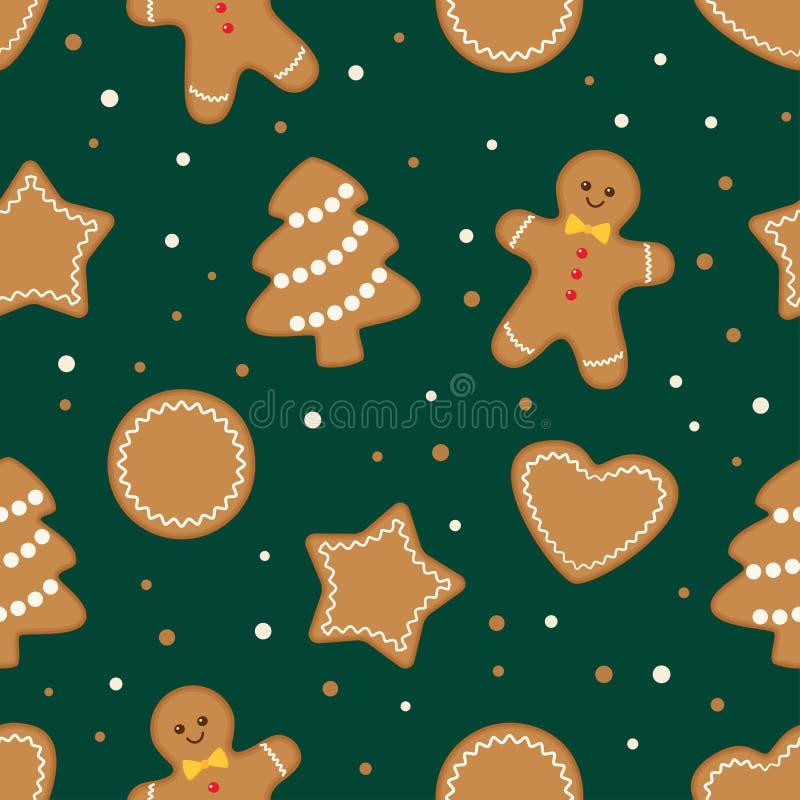 Cookies do Natal, teste padrão verde sem emenda ilustração stock