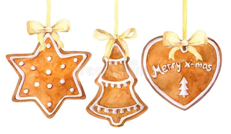 Cookies do pão-de-espécie do Natal que penduram a beira em um fundo branco ilustração royalty free