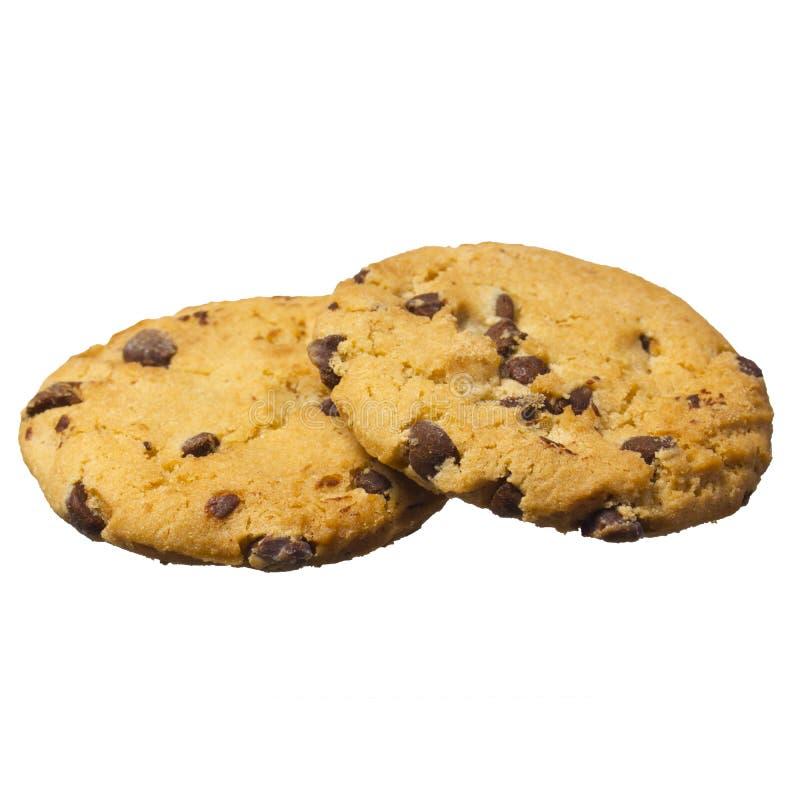 Cookies dos pedaços de chocolate isoladas no fundo branco. Biscoitos caseiros da pastelaria foto de stock royalty free