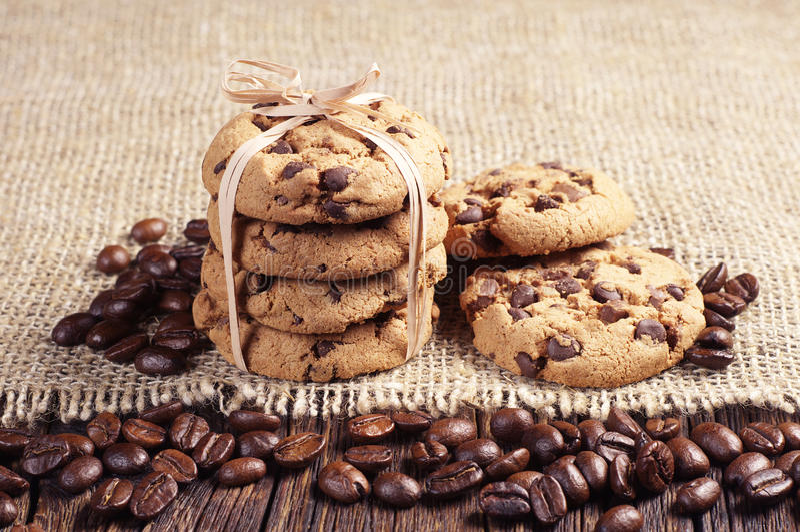 Cookies e feijões de café fotografia de stock