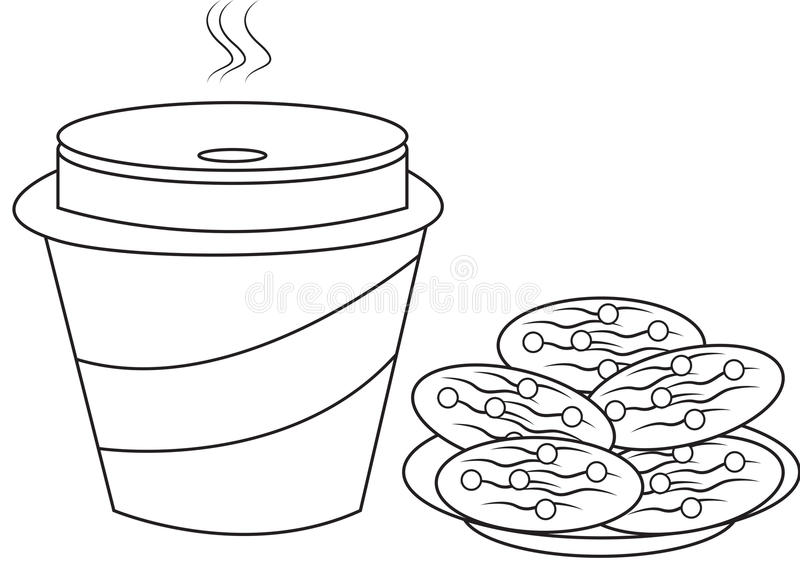 Cookies e página da coloração do leite ilustração do vetor