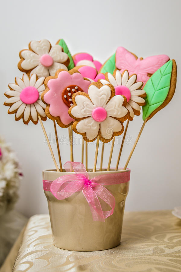 Cookies Flowers Candy Bouquet Stock Photo - Image of pink, aromatic ...