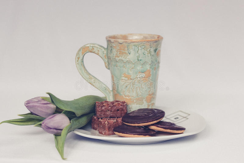 Cookies Flowers And Mug On Plate Free Public Domain Cc0 Image