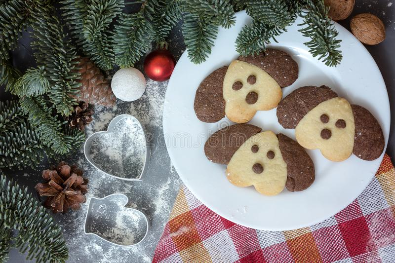 Cookies in the form of a dog on the Christmas table. Symbol of the new year 2018. stock photos