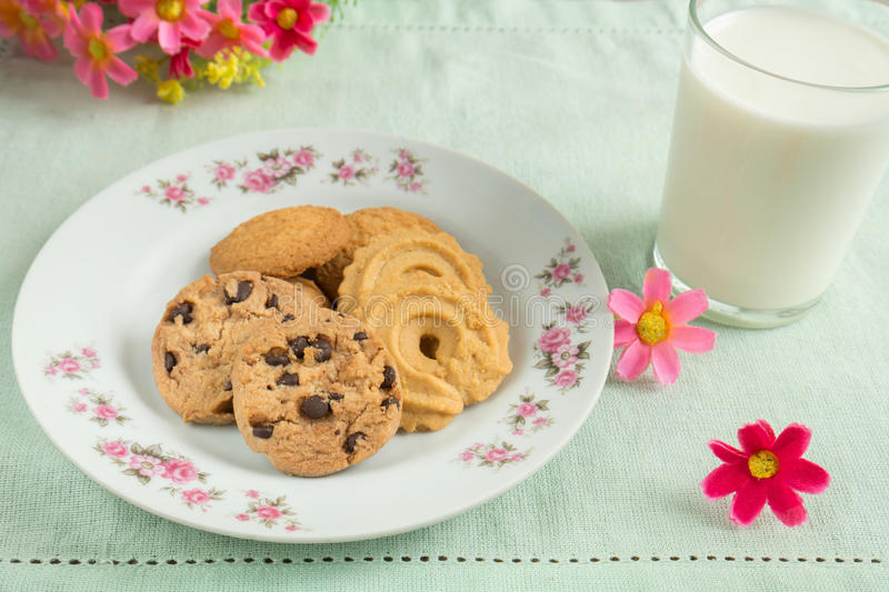 Download Cookies And A Glass Of Milk Stock Image - Image of delicious, fabric: 35809555