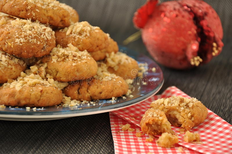 Cookies with honey and walnuts royalty free stock photography