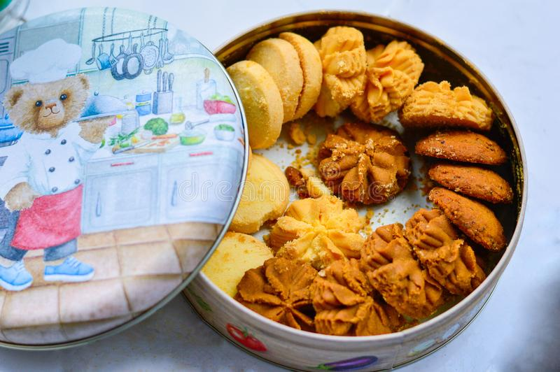 Cookies from Hong Kong Jenny Bakery with Illustration on Lid royalty free stock image