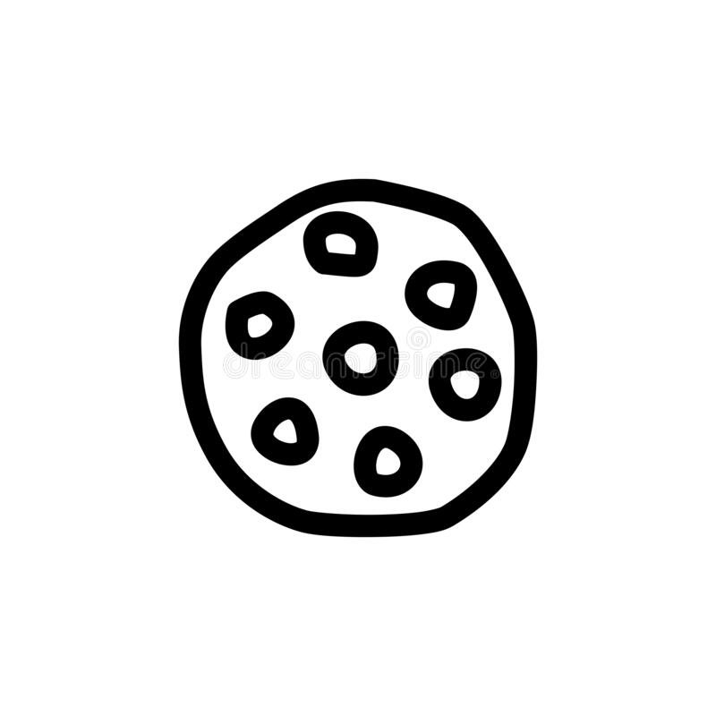 Cookies Icon. Chocolate Chips Cookies Foods Icon Logo Vector Illustration. Outline Style stock illustration
