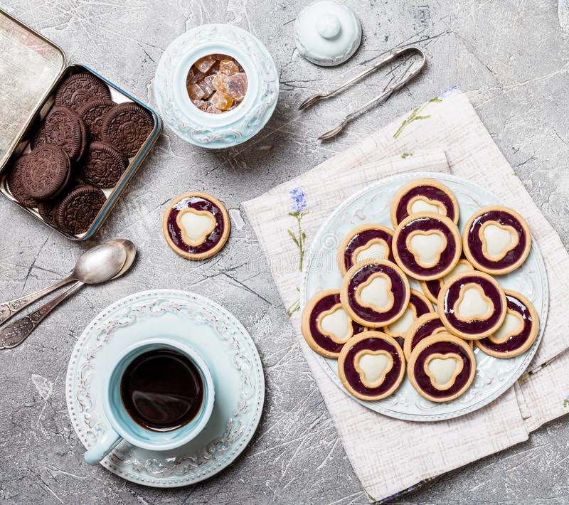 Cookies with jelly and glaze stock photo