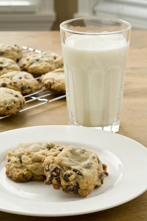 Cookies and milk. Fresh baked chocolate chip cookies and glass of milk royalty free stock images