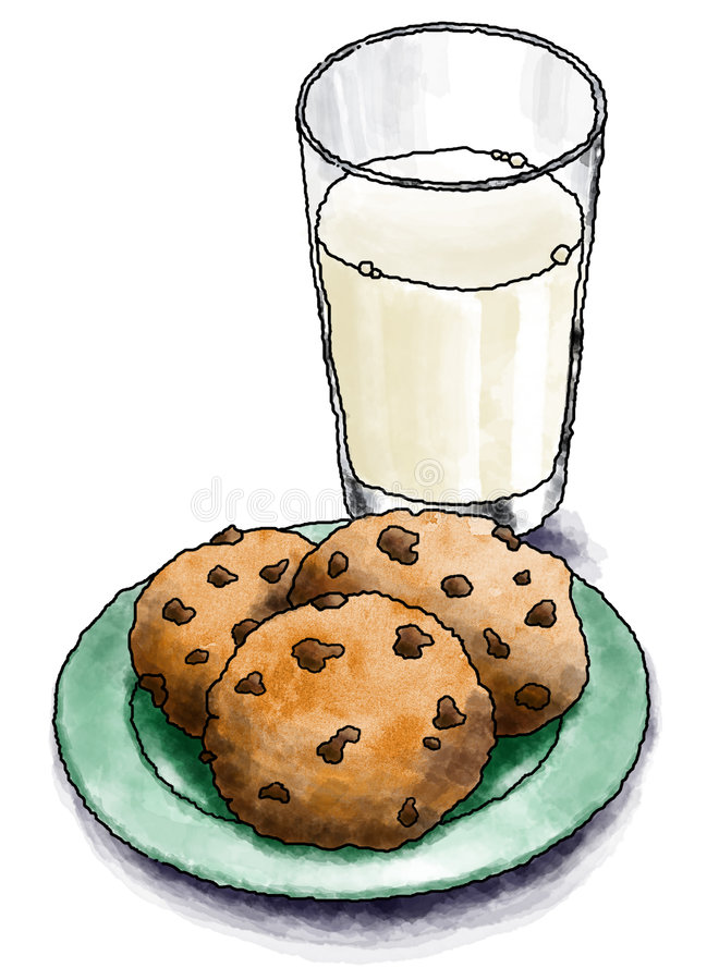Download Cookies and Milk stock illustration. Image of dessert - 3651197
