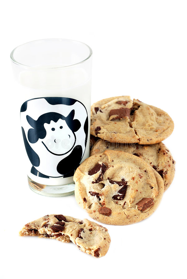 Cookies and milk. Chocolate chip cookies and a glass of milk stock photos