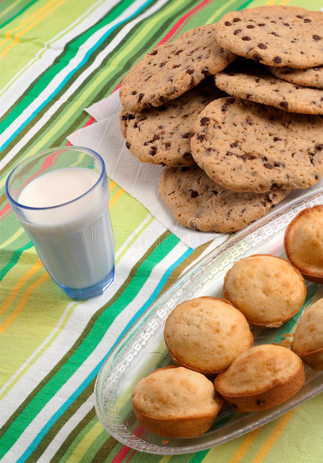 Cookies Muffins And Milk Stock Image