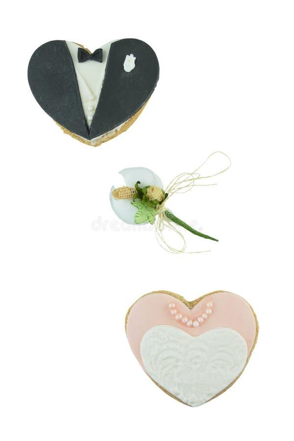 Cookies nupciais e amêndoas adoçadas fotografia de stock royalty free