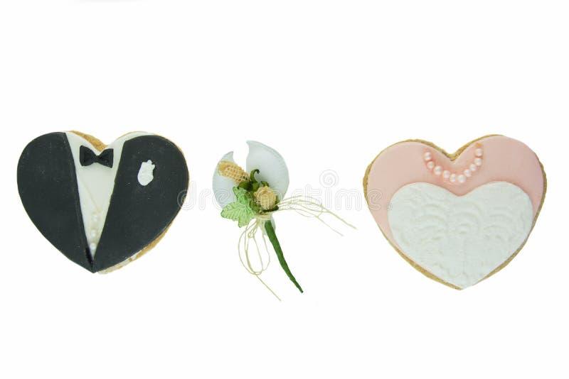 Cookies nupciais e amêndoas adoçadas fotos de stock