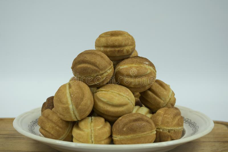 Cookies nuts com leite condensado fotos de stock