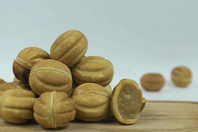Cookies nuts with condensed milk stock photos
