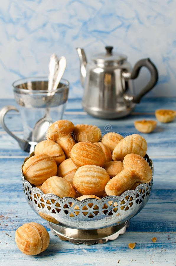 Cookies `Nuts` with condensed milk and nuts. Homemade cookies stock photos