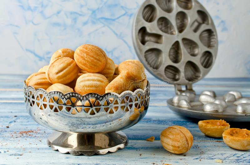 Cookies `Nuts` with condensed milk and nuts stock images