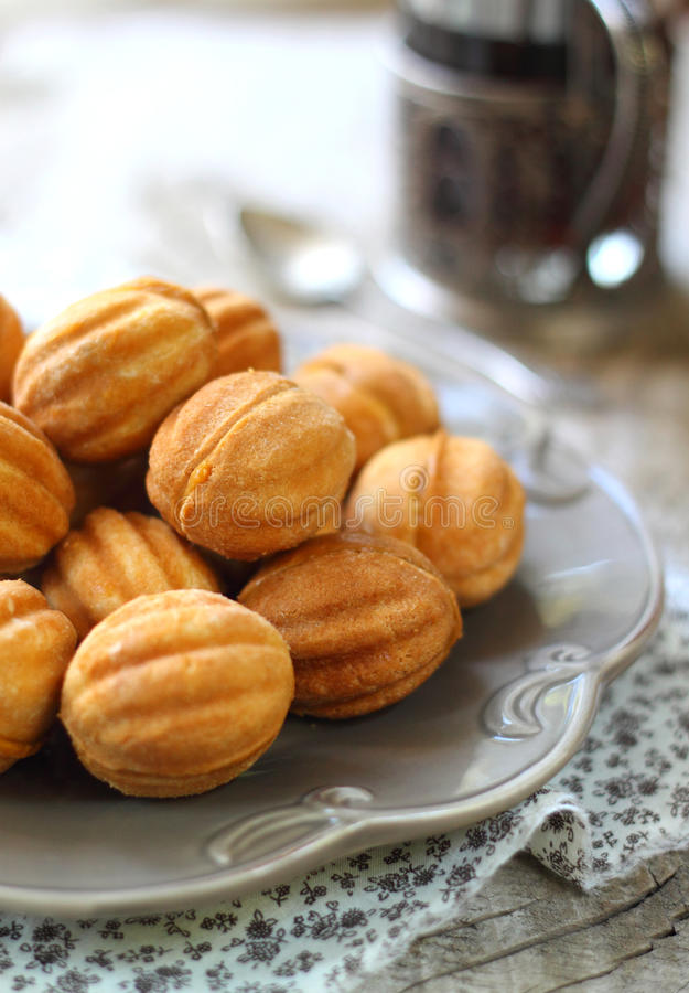 Cookies nuts with the condensed milk royalty free stock photography