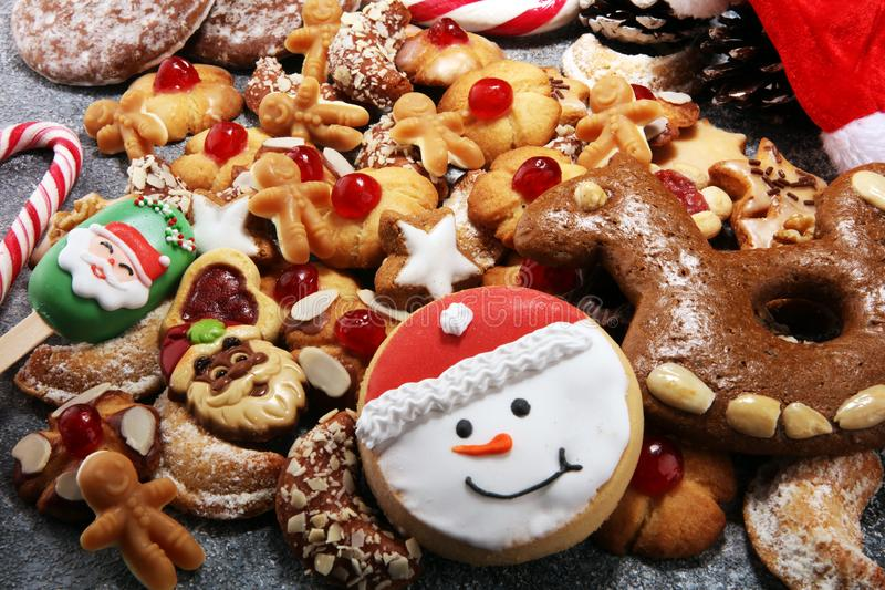 Cookies, nuts and gingerbread a christmas bakery concept. xmas cookies.  stock photos