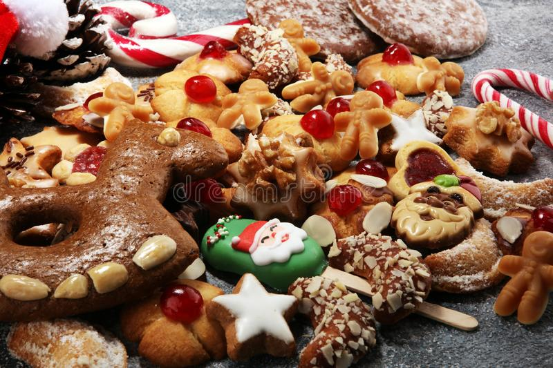 Cookies, nuts and gingerbread a christmas bakery concept. xmas cookies.  royalty free stock image