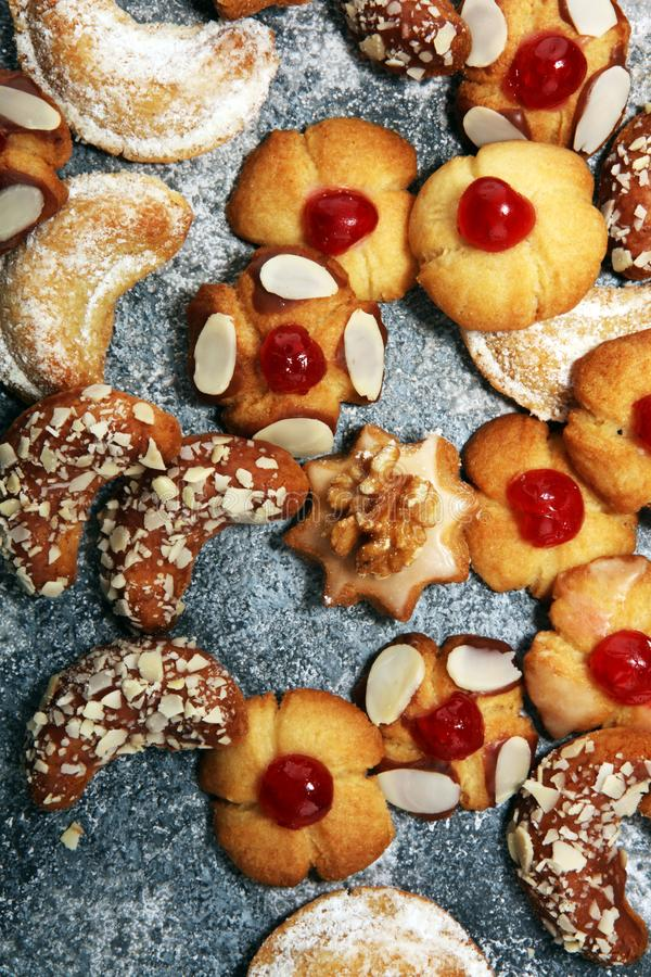 Cookies, nuts and gingerbread a christmas bakery concept. xmas cookies.  stock image