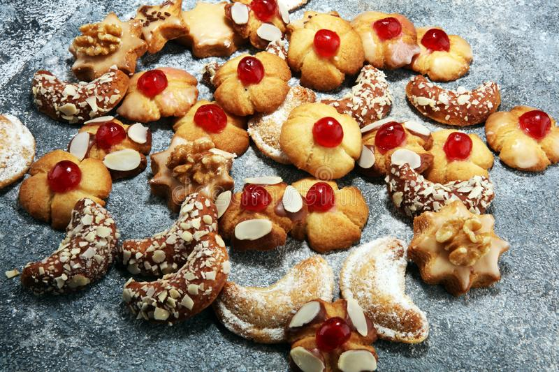 Cookies, nuts and gingerbread a christmas bakery concept. xmas cookies.  royalty free stock photos