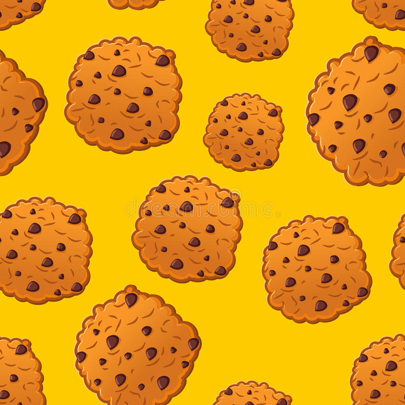 Cookies pattern. Biscuit with chocolatet Drops ornamen. Cookie t vector illustration