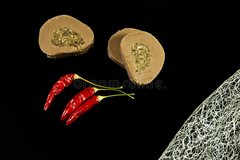 Cookies and peppers stock images