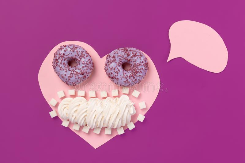 Cookies on pink heart. I love sweet. stock photos