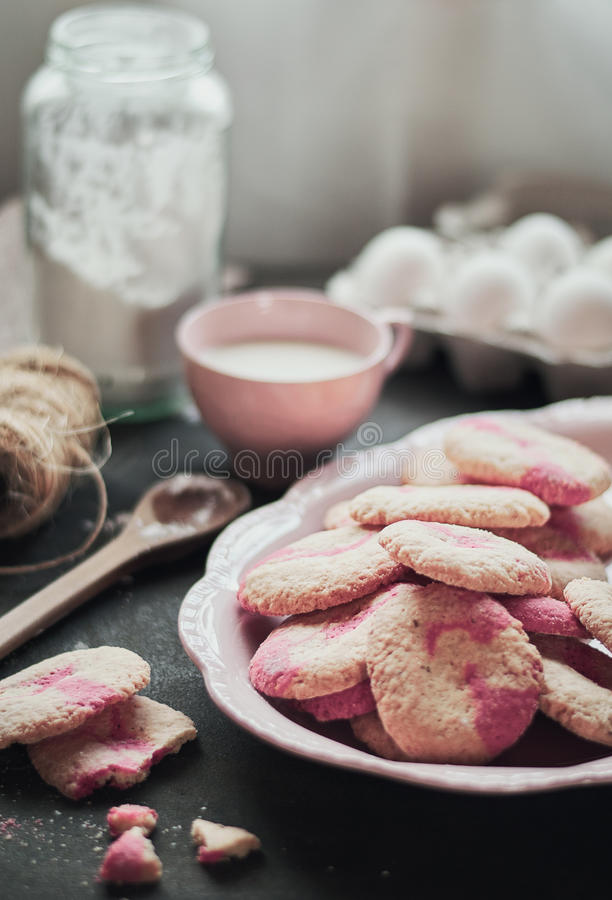 Cookies in pink royalty free stock image
