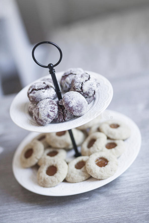 Cookies on plate. With chocolate royalty free stock photo