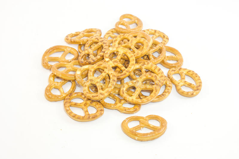 Cookies pretzels on a white background royalty free stock image