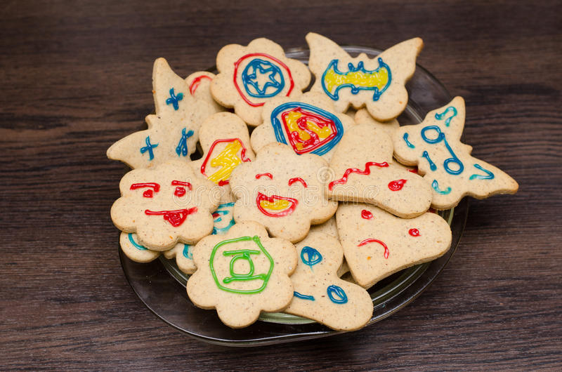 Cookies with a random superheroes.  royalty free stock images