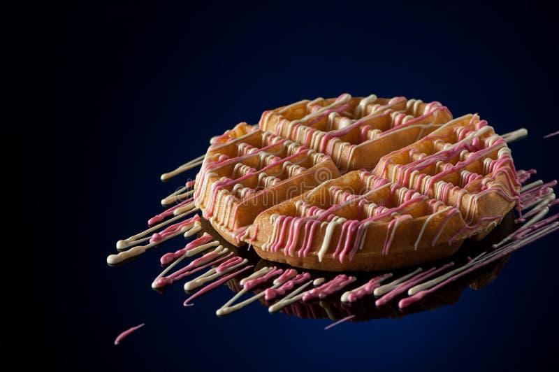Cookies redondas em um fundo escuro fotografia de stock royalty free