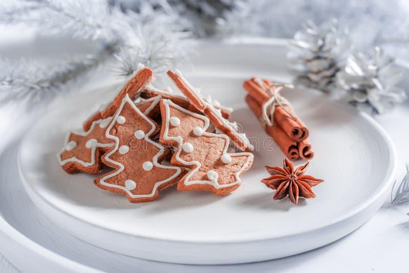 Cookies saborosos do pão-de-espécie para o Natal na placa branca imagem de stock royalty free