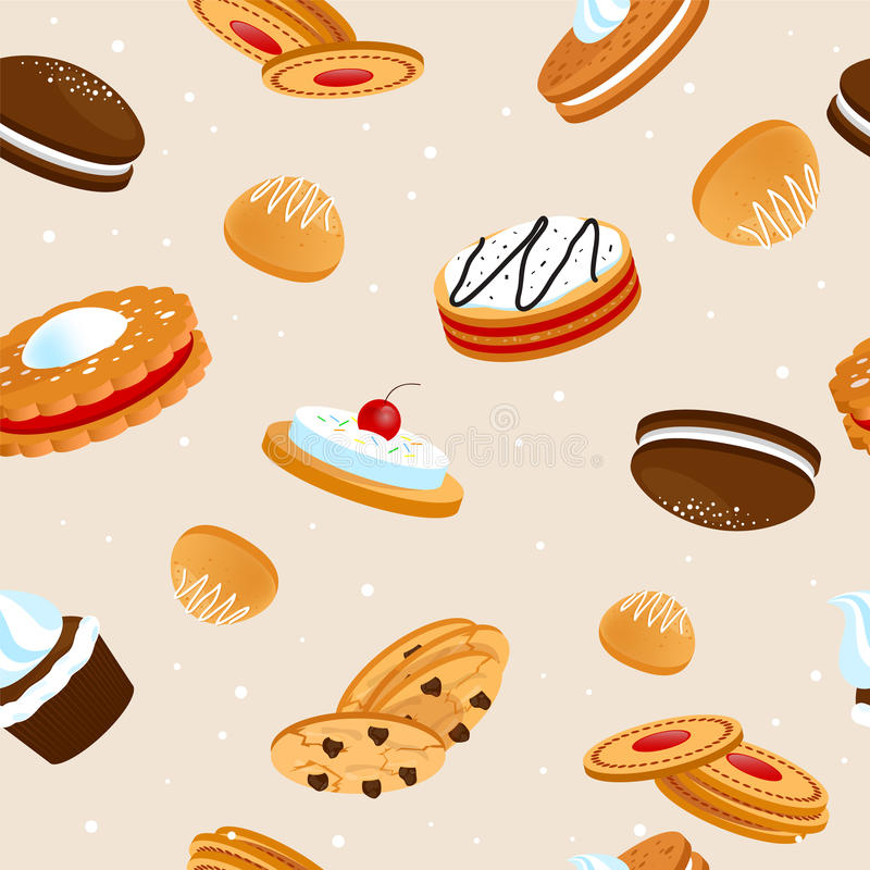 Cookies seamless pattern. Cookies and biscuits seamless pattern with cupcakes cakes and crunchy desserts with fruits vector illustration royalty free illustration